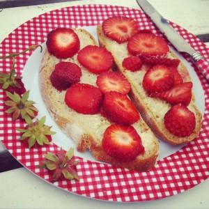 Een broodje met aardbeien, een fijne beloning na een paar uur tuinieren.
